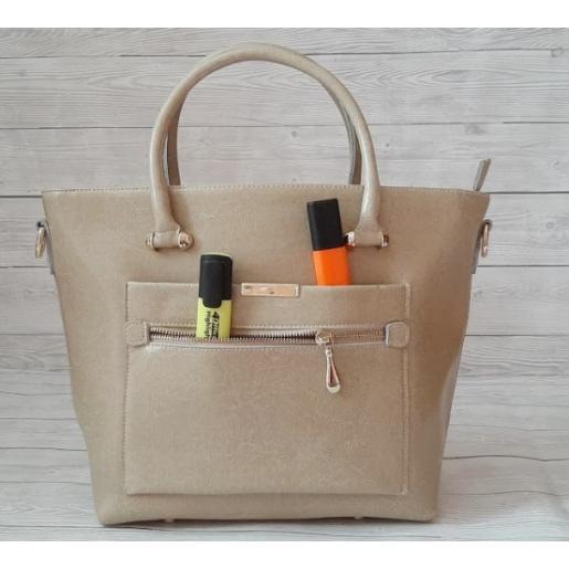 Женская кожаная сумка MEG148-3 Бежевый