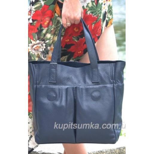 Женская сумка из натуральной кожи 02PB-19 Синий