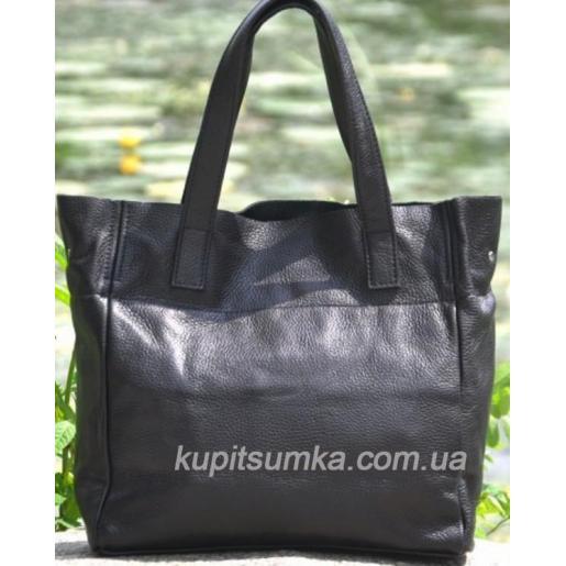 Женская кожаная сумка шопер 02PB-4 Черный