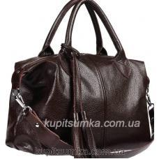 Вместительная женская сумка из натуральной мягкой кожи кофейного цвета