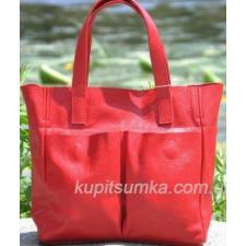 Женская кожаная сумка шоппер 02PB-10 Красный