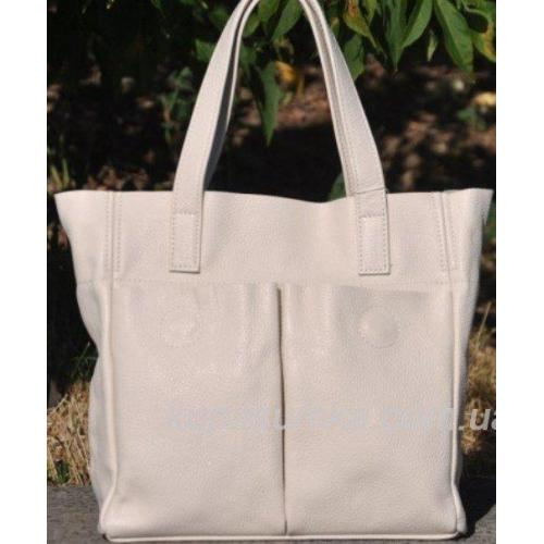 Женская кожаная сумка шоппер Молочный беж