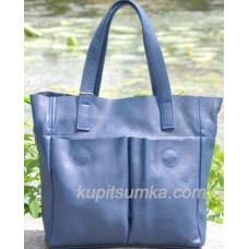 Женская кожаная сумка шоппер Синий