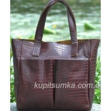 Женская кожаная сумка шоппер с тиснением, шоколадного цвета