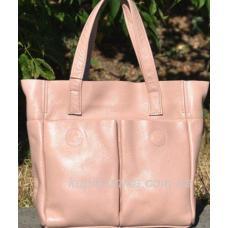 Женская кожаная сумка шоппер, цвет пудра