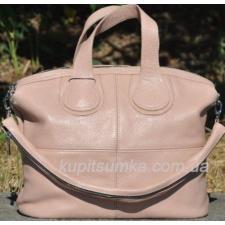 Женская объемная сумка из мягкой натуральной кожи пудрового цвета