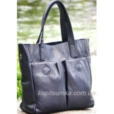 Женская сумка шоппер из натуральной кожи Синий