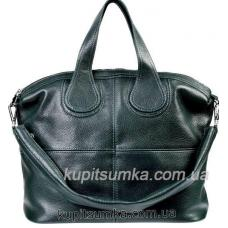 Зеленая женская сумка из натуральной мягкой кожи