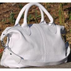 Кожаная сумка из натуральной кожи флотар белого цвета