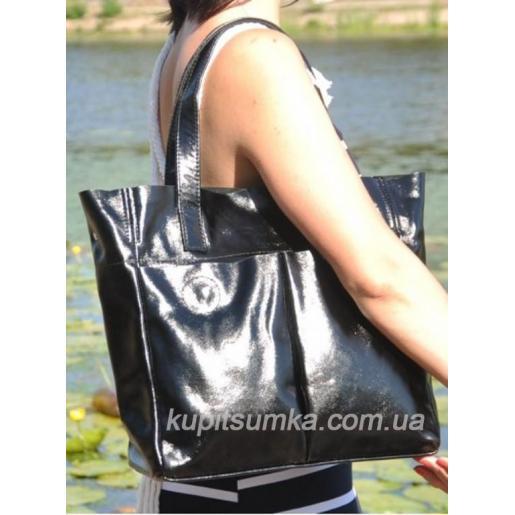 Женская сумка шоппер из натуральной кожи 24М0 Черный
