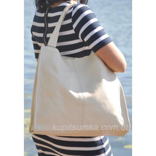 Кожная женская сумка Casual 12-1PB Бежевый