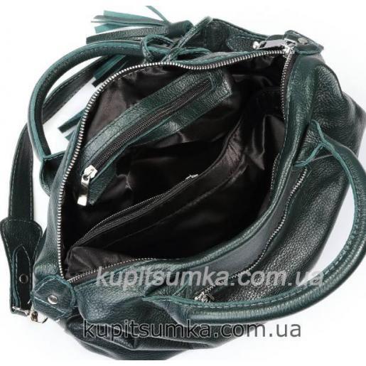 Кожаная сумка зеленого цвета из натуральной кожи