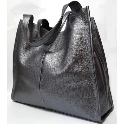 Женская кожаная сумка шоппер 12-9PB Графитовый