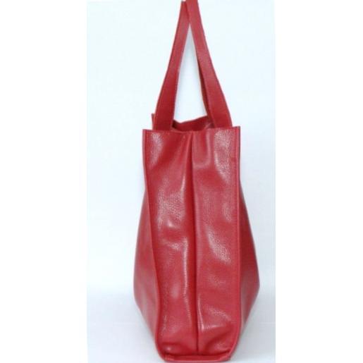 Женская сумка кожаная шоппер 12-7PB Красный