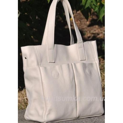 Женская кожаная сумка шоппер 02PB-4 Бежевый