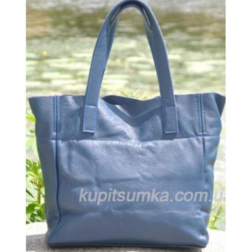 Женская кожаная сумка шоппер 02PB-1 Синий