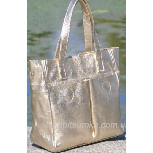 Женская кожаная сумка шоппер, цвета золота