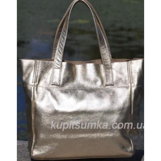 Женская кожаная сумка 02PB-11 Золотистый