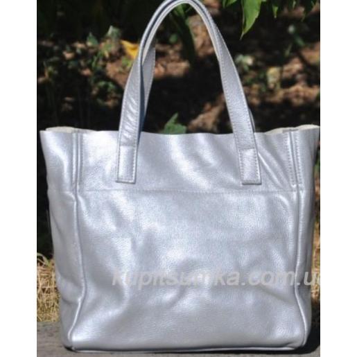 Женская кожаная сумка шоппер 02PB-17 Серебристый
