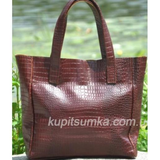 Женская кожаная сумка шоппер 02PB5 Коричневый