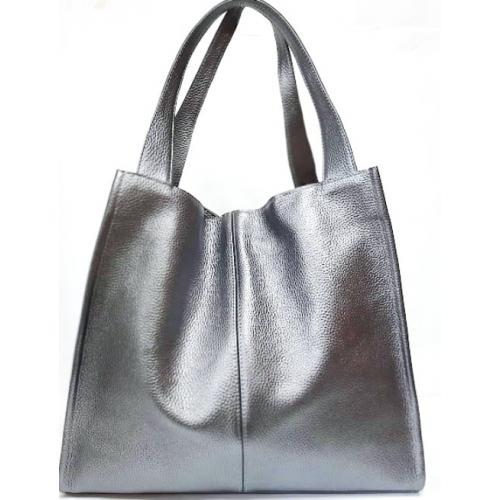 Женская кожаная сумка шоппер 12-3PB Серебристый