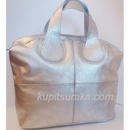 Женская кожаная сумка PV22-3 Серебристый