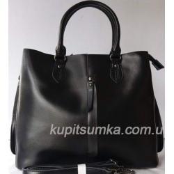 Кожаная женская сумка черная 65N8