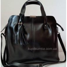 Женская кожаная сумка из натуральной кожи Черный