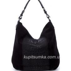 Женская сумка из натуральной замши с экзотическим тиснением Кофейный