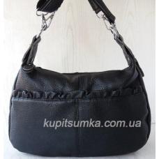 Комфортная женская сумка из натуральной мягкой кожи цвет чёрный
