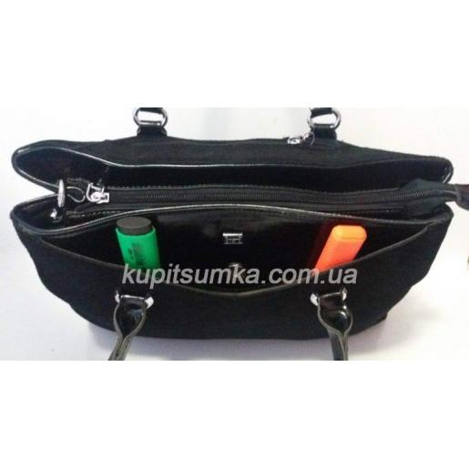 Элегантная деловая сумка из натуральной черной замши