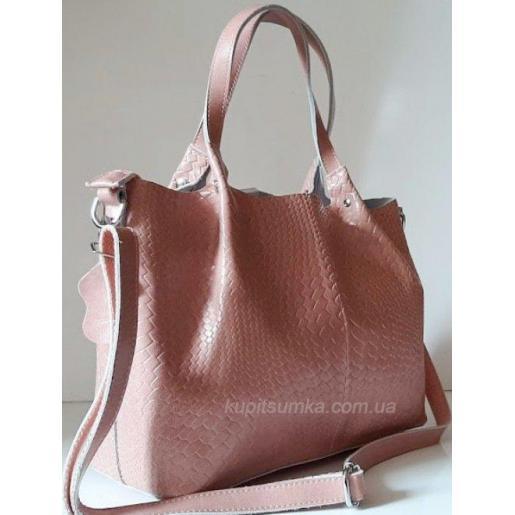 Женская кожаная сумка 0414N Розовый