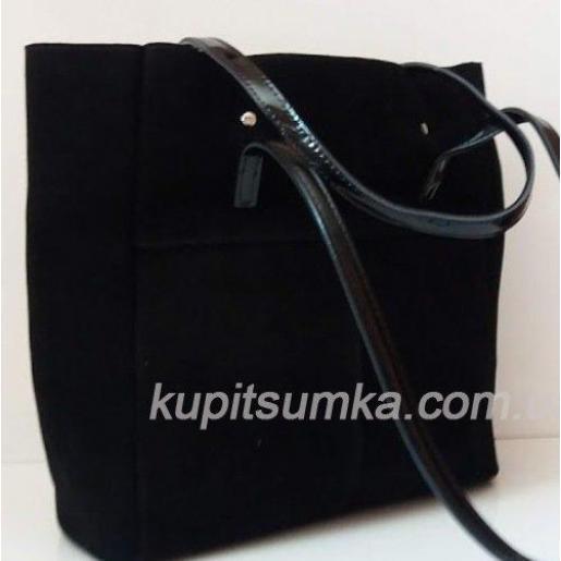 Женская сумка из натуральной черной замши на длинных ручках