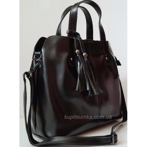 Женская кожаная сумка из натуральной черной кожи с подвеской