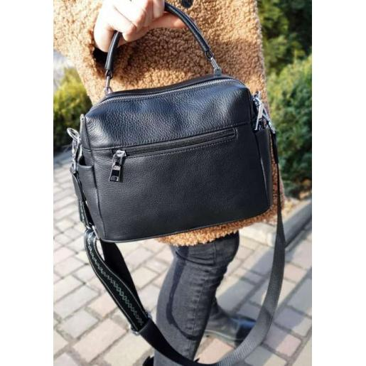 Женская кожаная сумка-месенджер черный 897N