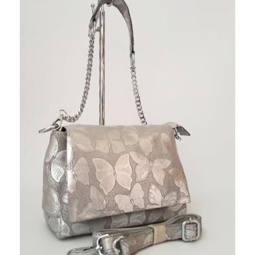 Женская сумка кожаная кросс - боди серебристая FR402N