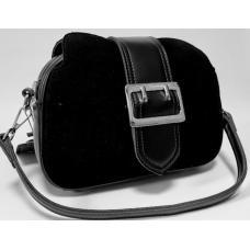Женский черный клатч из замши и натуральной кожи FR400N
