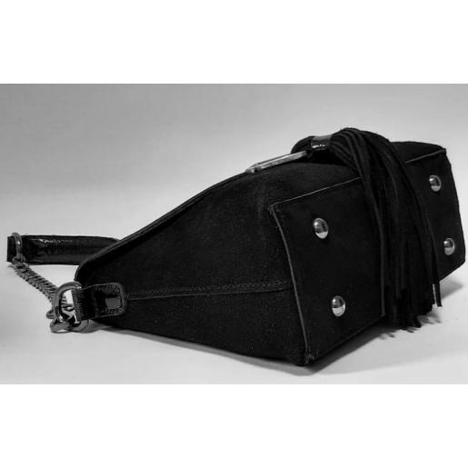 Женский кожаный клатч замшевый черный FR401N