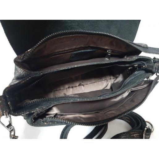 Женская сумка - клатч из замши черная FR407N