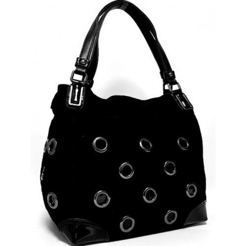 Женская сумка из замши черная Тоут FR403N
