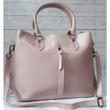 Женская кожаная сумка розовая 303N