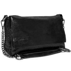 Женский кожаный клатч из замши черный FR405N
