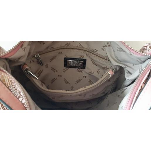 Вместительная женская сумка из розовой натуральной кожи на регулируемых ручках