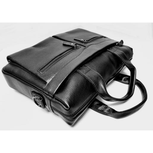 Мужская кожаная черная сумка для офиса