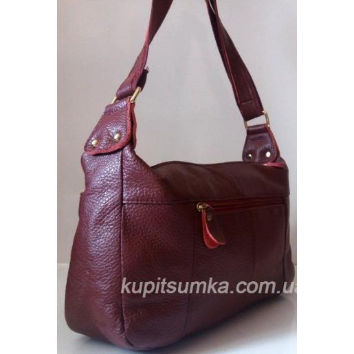 Женская кожаная сумка Бордовый