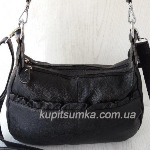 Женская кожаная сумка Хобо O-106D Черный