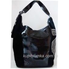 Очаровательная сумка из натуральной замши и кожи с декором из страз