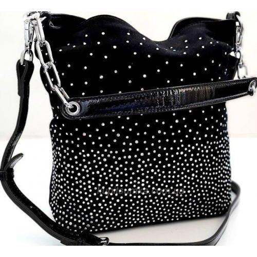 Кожаная замшевая сумка со стразами Q7N Черный