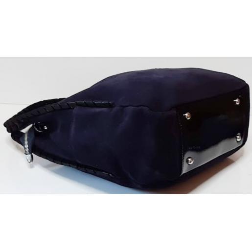 Замшевая женская сумка Q235N Тёмно-синий