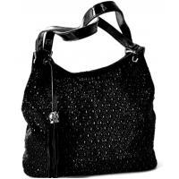 Женская сумка замшевая со стразами черная Q903N